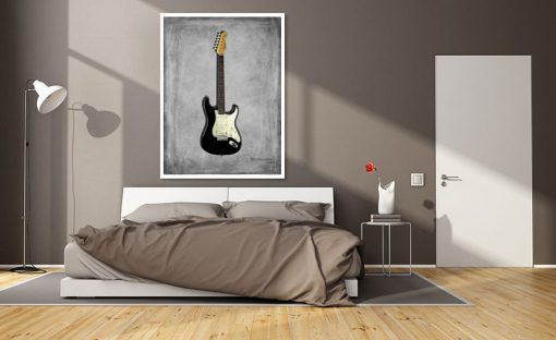 Dipinto di una chitarra elettrica nera Stratocaster 59