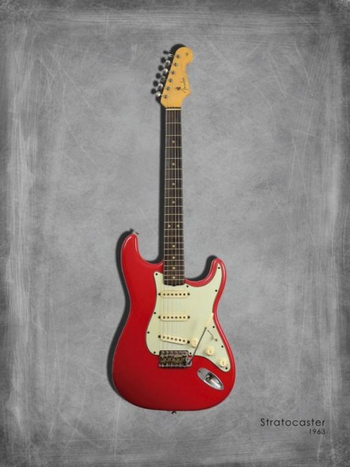 Dipinto di una chitarra elettrica rossa Stratocaster 63