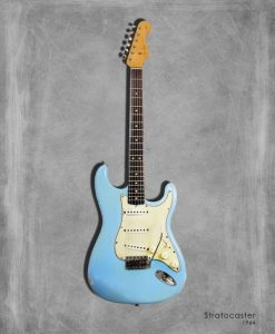 Dipinto di una chitarra elettrica azzurra Stratocaster 1964
