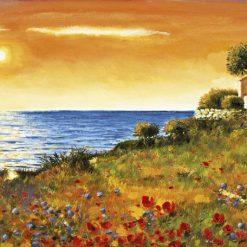 Casa sul mare e prato di papaveri fioriti