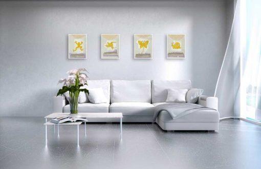 Silhouette di animali gialli con dettagli color argento