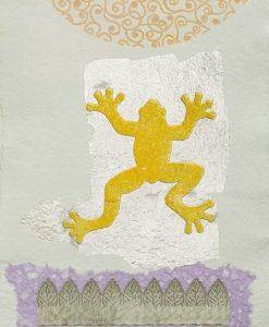 Silhouette di una rana gialla con dettagli color argento