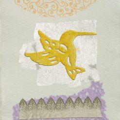 Silhouette di un colibrì giallo con dettagli color argento