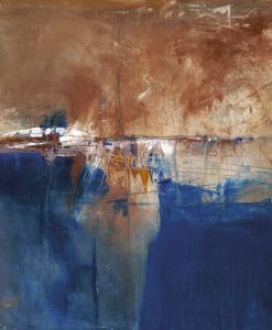 Dipinto con sfumature marroni e blu
