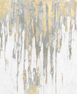 Colata di pittura argento con riflessi oro