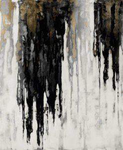 Colata di pittura argento e nera