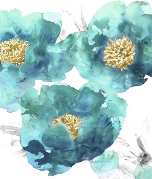 Acquerello di fiori turchesi