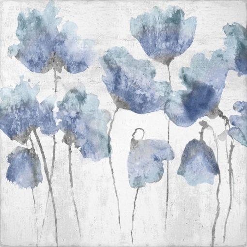 Fiori di campo dipinti con sfumature dai toni blu