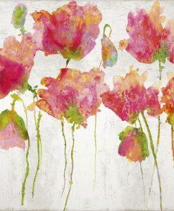Fiori di campo dipinti con sfumature dai toni rossi