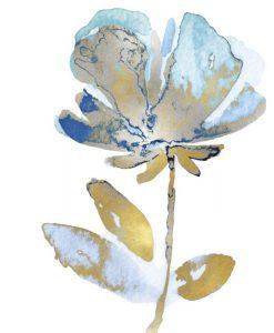 Sagoma dipinta di un fiore oro e azzurro