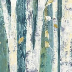 Dipinto astratto di betulle su sfondo azzurro