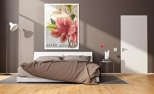 Ambientazione di un'illustrazione botanica di una azalea