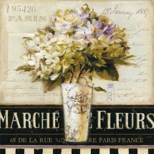Cartolina pubblicitaria del mercato dei fiori a Parigi