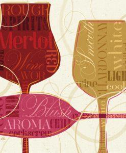 Composizione con nomi e bicchieri di vino