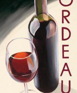 Bottiglia e bicchiere di bordeaux