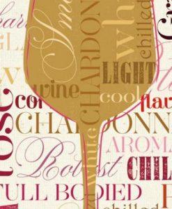 Composizione con nomi e bicchiere di vino