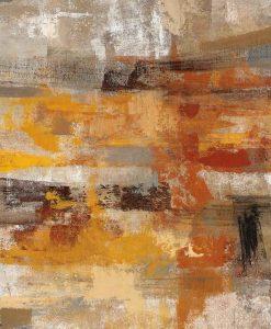 Dipinto astratto con pennellate color argento e ambra