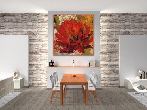 Ambientazione cucina Dipinto astratto di una dalia