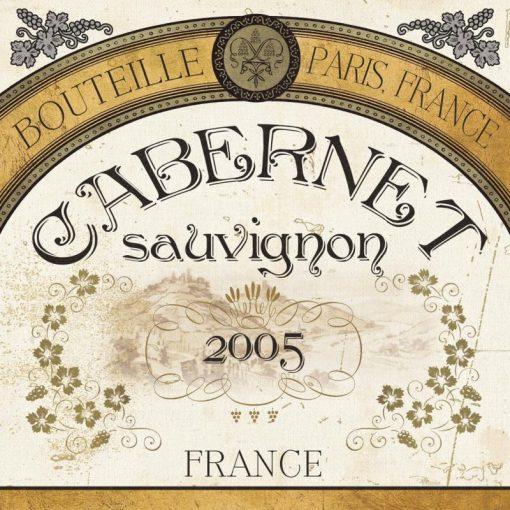 Etichetta del vino Cabernet in stile art deco