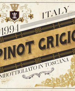Etichetta del vino Pinot Grigio in stile rétro