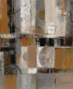 Dipinto astratto con cerchi e quadrati sovrapposti