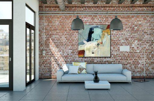 Ambientazione salotto Dipinto astratto con forme stilizzate