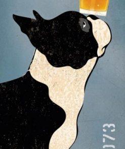 Poster di un birrificio con un boston terrier