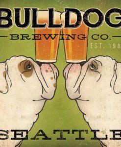 Poster di un birrificio con due bulldog