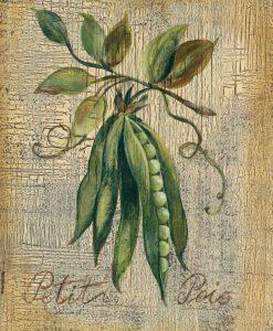 Illustrazione di piselli su legno