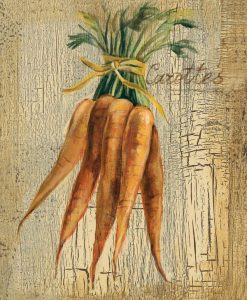 Illustrazione di carote su legno