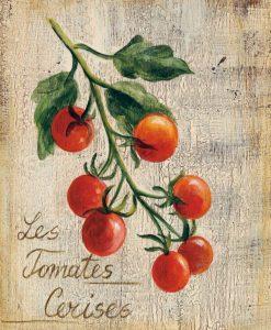 Illustrazione di pomodori su legno