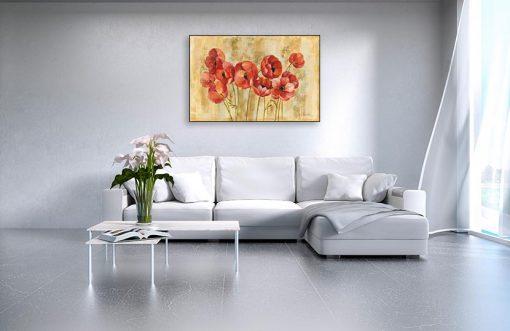 Ambientazione salotto Anemoni rosse effetto vintage
