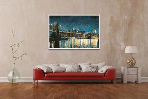 Ambientazione Il ponte di Brooklyn di notte