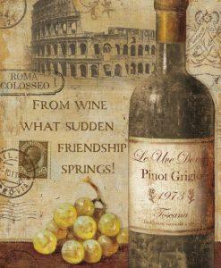 Bottiglia di vino europeo in stile vintage
