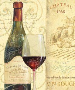 Bottiglia e bicchiere di vino rosso francese