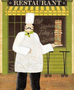Uno chef davanti al suo ristorante