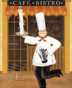Uno chef davanti al suo café