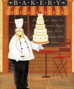Uno chef davanti al suo panificio