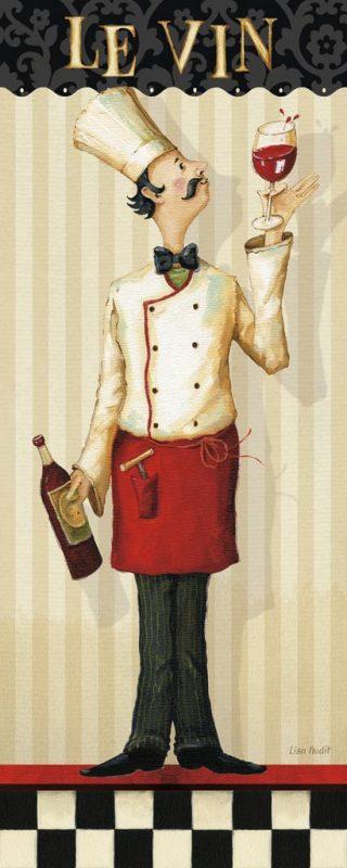 Illustrazione di uno chef che regge del vino