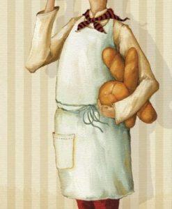Illustrazione di uno chef che regge del pane
