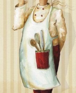 Illustrazione di uno chef che regge una fetta di torta