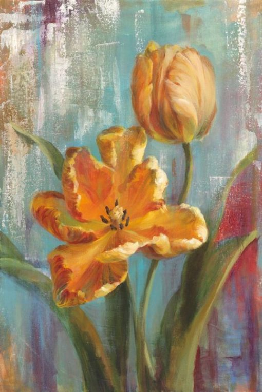 Dipinto di tulipani pappagallo arancio