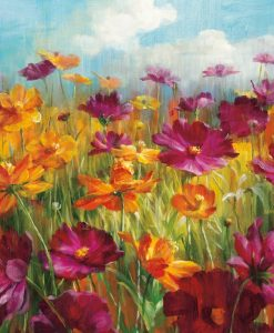 Campo con fiori rosa e arancio