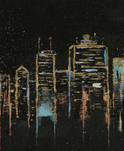 Poche pennellate per ricreare il profilo di New York City
