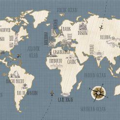 Cartina Mondo Con Nomi.Veronique Charron Doodles Map Art Plus Vendita Stampe Su Tela Quadri E Poster