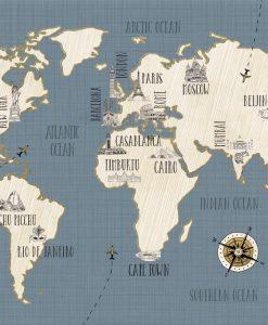 Cartina del mondo con nomi di città