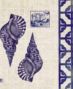 Tela con illustrazione di due conchiglie