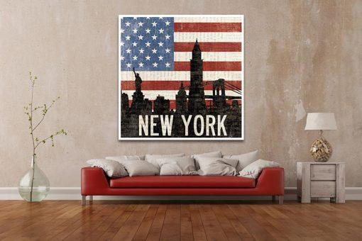 Ambientazione di una Bandiera degli Stati Uniti con il profilo della famosa metropoli