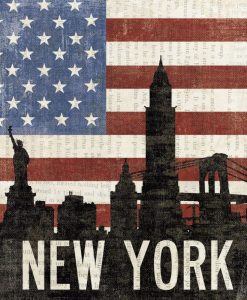 Bandiera degli Stati Uniti con il profilo della famosa metropoli