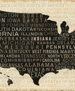 Cartina degli Stati Uniti composta dai nomi dei vari stati